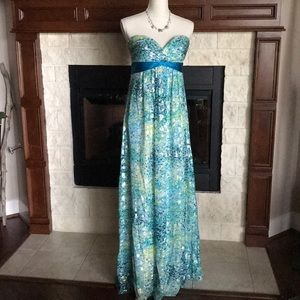 BCBG Blue Silk Strapless Prom Party Gown Dress 10